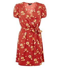 Brown Floral Print Wrap Front Dress