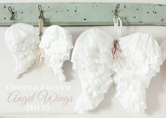 Baby diy decorations coffee filters 34 ideas for 2019 Diy Angel Wings, Diy Wings, Coffee Filter Crafts, Coffee Crafts, Handmade Christmas, Christmas Crafts, Christmas Ornaments, Christmas Tree, Diy Angels