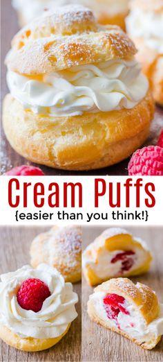 Easy Cream Puffs with sweet cream and raspberries. Learn how to make easy bakery quality cream puffs. #recipe #creampuffs #creampuffrecipe #chouxpastry #chouxpaste #dessert #pastry #Frenchpastry #French #natashaskitchen