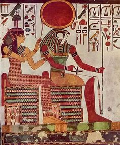 The Egyptian sun god Ra was said to sail his boat across the sky by day and carry it back through the underworld by night. This depiction of Ra is from the tomb of Nefertari.