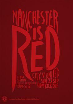 Match poster. Manchester City vs Manchester United, 22 September 2013. Designed by @manutd.