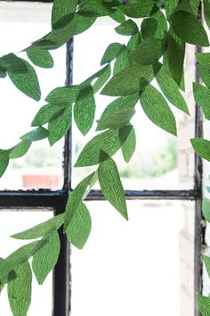DIY paper leaf garland - The House That Lars Built You absolutely loved the DIY upcycled paper flower chandelier from the above,. Green Garland, Leaf Garland, Paper Leaves, Tissue Paper Flowers, Diy Party Decorations, Paper Decorations, Paper Garlands, Paper Plants, Flower Chandelier
