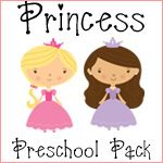 free princess preschool learning pack {use printables for party games and crafts, make mini-books, use images for cupcake toppers, garlands, napkin wraps, favor bags, etc.}