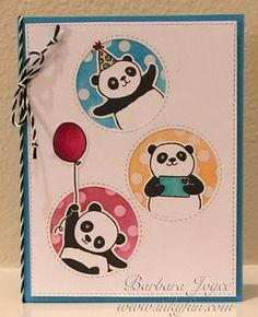 by bejoyce - Cards and Paper Crafts at Splitcoaststampers - – Panda-monium! by bejoyce – at Splitcoaststampers – (Pin Animals: Wild-Far Lands…Asian/ Chinese. Panda Birthday, Kids Birthday Cards, Handmade Birthday Cards, Baby Cards, Kids Cards, Stampin Up Karten, Panda Party, Stamping Up Cards, Animal Cards