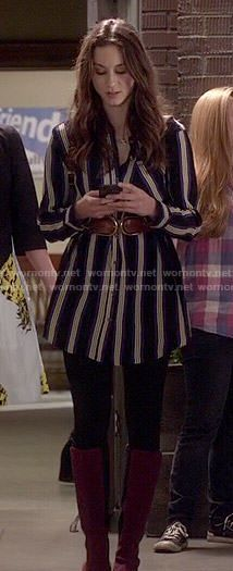 Spencer's striped shirtdress on Pretty Little Liars.  Outfit Details: http://wornontv.net/50091/ #PLL
