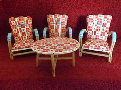 vintage 1950s dolls furniture - chairs & coffee table