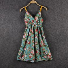 awesome Hot-selling V-neck high waist floral print spaghetti strap beach cotton silk one-piece dress summer basic suspender skirt Check more at http://souqzila.com/products/hot-selling-v-neck-high-waist-floral-print-spaghetti-strap-beach-cotton-silk-one-piece-dress-summer-basic-suspender-skirt/