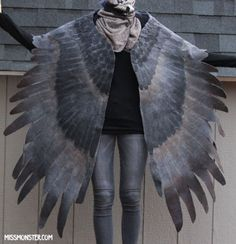"""Prototype felt wing piece by www.missmonster.myshopify.com   """"I MUST stress that this is an experimental piece, it is NOT perfect! Please read the description carefully before bidding. I will make more of these super wings with a similar layering look as well as the smaller wool ones..."""""""