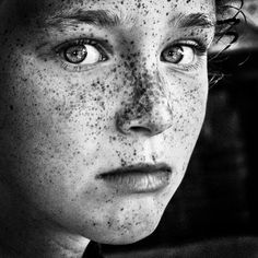 I have always dreamed of having these beautiful freckles. So jealous. And I love the contrast this image provides; I don't know whether to look at her beautiful freckles or those stunning eyes! Black And White Portraits, Black And White Photography, People Photography, Portrait Photography, Photography Tips, Street Photography, Landscape Photography, Fashion Photography, Wedding Photography