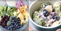 Fibres, Vinaigrette, Fruit Salad, Acai Bowl, Great Recipes, Salads, Breakfast, Brocolli Salad, Apple