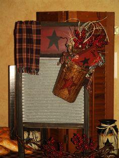 primitive star kitchen   | Farm House Primitive Star Wash Board Wash by PrimitiveStardecor
