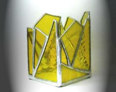 Clear Stained Glass Candle Holder by AfricanSand on Etsy