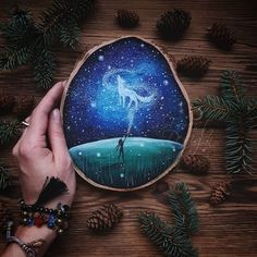 I Love To Paint On Wood Pieces Found During My Forest Wanderings. - nina wunderland - I Love To Paint On Wood Pieces Found During My Forest Wanderings. Wood Painting Art, Stone Painting, Art On Wood, Wood Wood, Diy Wood, Forest Drawing, Forest Art, Magical Paintings, Mini Canvas Art