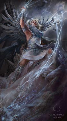 Goddess Zeus (of the Femythology series), Cassandre Bolan Art Studio Organization, Dark Pictures, Step By Step Drawing, Cute Gif, Art Design, Artist At Work, Dark Art, Mythology, Art Drawings