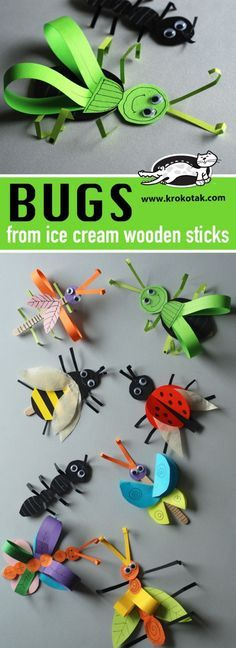 BUGS from ice cream wooden sticks. Crafts for kids. Animal crafts.
