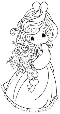 Precious Moments girl with flowers Emoji Coloring Pages, Fall Coloring Pages, Bible Coloring Pages, Disney Coloring Pages, Mandala Coloring Pages, Coloring Pages To Print, Printable Coloring Pages, Coloring Pages For Kids, Coloring Books