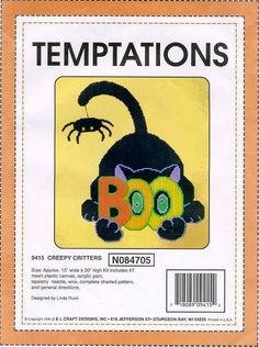 """CREEPY CRITTERS by LINDA RUCK 1/6 (like """"Spider Boo Cat"""" by Sunshine Designs, on my Halloween PC Board)"""