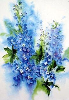 Delphiniums watercolor - Bev Wells