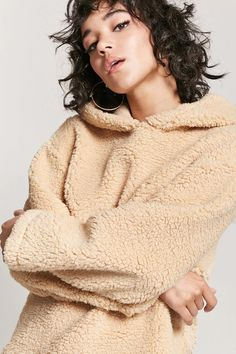 Product Name:Faux Shearling Pullover Hoodie, Category:top_blouses, Price:19.9