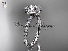 14k white gold diamond engagement ring VD10082 - Wedding and engagement rings (*Amazon Partner-Link)