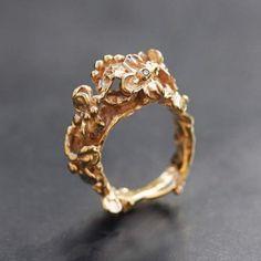 Bague Jardin d'Eden vermeil or rose, 5 diamants chocolat par Anaïs Rheiner exclusivement chez l'Atelier des Bijoux Créateurs.