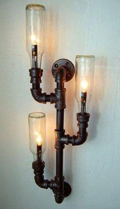 Pipe lamp Industrial lighting Wall sconce Steampunk lamp Repurposed bottle lamp 280 00 via Etsy Industrial Lighting, Industrial Chic, Industrial Design, Vintage Lighting, Vintage Industrial, Pipe Lighting, Bathroom Lighting, Industrial Interiors, Industrial Industry