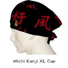 Surgical Scrub XL Caps Michi Kanji 100% cotton made in the USA