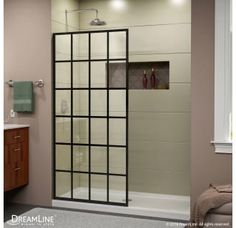 """View the DreamLine SHDR-3234721-89 French Linea Toulon 34"""" Wide x 72"""" High Frameless Shower Screen at Build.com."""