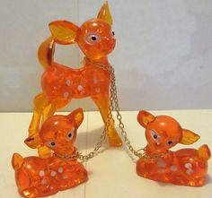Vintage 60's Kitsch Set 3 Orange Plastic Deer Bambi Figures Complete with Chains