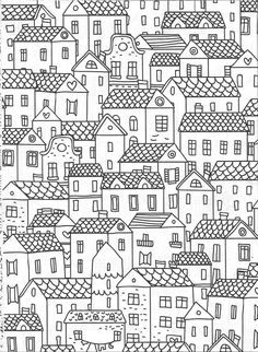 Cityscape coloring pages Heart Coloring Pages, Cool Coloring Pages, Adult Coloring Pages, Coloring Sheets, Coloring Books, Ink Doodles, Flower Doodles, Doodle Wall, City Drawing