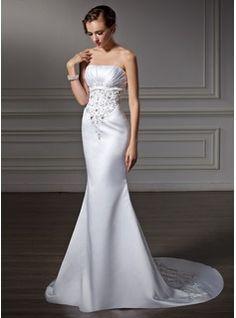 Trumpet/Mermaid Strapless Chapel Train Satin Wedding Dress With Embroidered Ruffle Beading (002004485) - JJsHouse