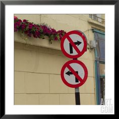 Ireland, Traffic Signs on Street Framed Photographic Print by Keith Levit at Art.com