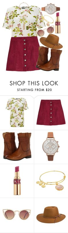 """""""Southern Belle"""" by malbalmonkey ❤ liked on Polyvore featuring Equipment, Frye, Yves Saint Laurent, Alex and Ani, Quay, RHYTHM, Lydell NYC, country and maroon"""