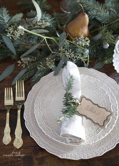 French Country Cottage Christmas Home Holiday Decorating dining room kitchen style house Holiday- this table setting is gorgeous! French Country Christmas, Cottage Christmas, French Country Cottage, Noel Christmas, French Country Style, French Country Decorating, Simple Christmas, All Things Christmas, Christmas Vacation
