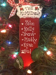 Stocking family Christmas personalized ornament handcrafted country wood crafts 2012 keepsake. $5.50, via Etsy.
