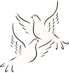 Illustration of two doves, the sacrifice presented after the birth of Jesus, Luke 2:24
