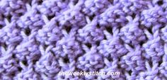 Sample knit with worsted weight yarn on US size 6 needles    Multiple of 4   Row 1 (RS) : *[k1, yo, k1] into next st, p3*  Row 2: *p3tog, ...
