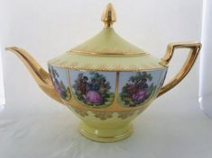 Vintage Fragonard German Teapot with Panels depicting a courting couple, gilt. Chocolate Pots, Chocolate Coffee, China Teapot, How To Make Tea, Fine China, China Porcelain, Drinking Tea, Pink Flowers, Love Story