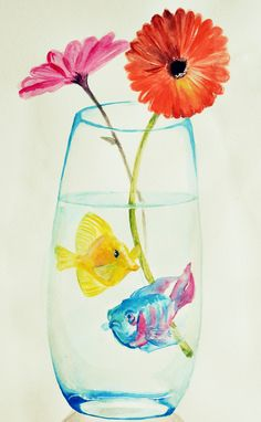 Fishes and flowers, watercolour.
