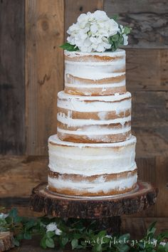 """Naked Rustic Wedding Cake """"Nude Cake"""" - Photo: Milk Photography; Styled by: Harper & Co"""