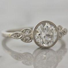 Vintage Bezel Set Diamond and Platinum Engagement Ring