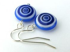 EE11161205) Dark blue millefiori glass swirl bead dangling earrings by meecreation for $7.23