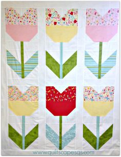 .Quiltscapes.: Oh, Happy Day! Tulip Quilt Tutorial