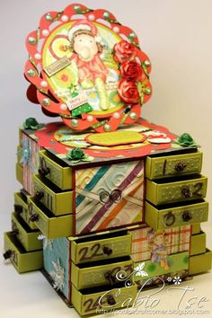 Magnolia Tilda Christmas Altered Advent Calendar Box by cabiotse - Cards and Paper Crafts at Splitcoaststampers