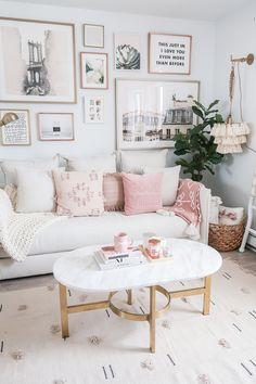 Living Room of MoneyCanBuyLipstick.com, Cozy Neutral and Blush Living Room - Money Can Buy Lipstick