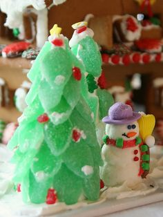 Gumdrop trees and marshmallow snowman for your gingerbread displays.