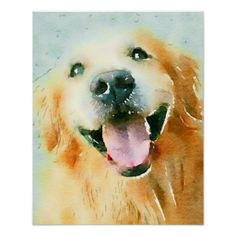 Smiling Golden Retriever in Watercolor Poster by #AugieDoggyStore