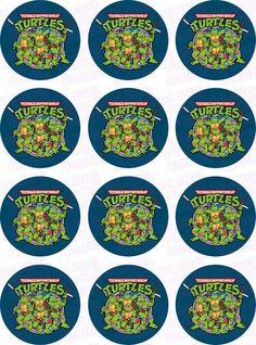 Teenage Mutant Ninja Turtles TMNT Inspired Edible Icing Cupcake Decor Toppers - TMNT2 Turtle Birthday Parties, Ninja Turtle Birthday, Ninja Turtle Party, Star Wars Birthday, Ninja Turtle Cupcakes, Turtle Cakes, Ninja Party, Teenage Mutant Ninja Turtles, Tmnt