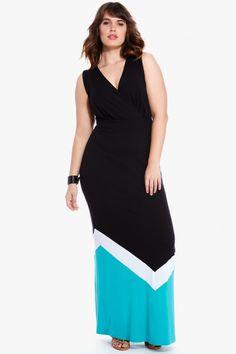 Fashion to Figure Caty Color-Block Maxi Dress