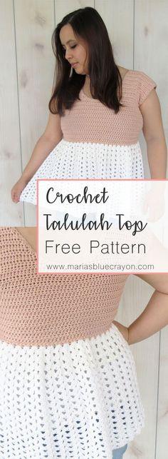 Crochet Talulah Top | Free Crochet Pattern | Cotton Yarn Spring Top Pattern | Ruffle Tunic | Lacy Crochet Top | Spring Summer Crochet Pattern